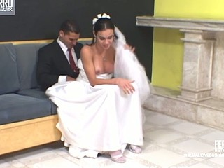 Calena mindblowing transsexual bride