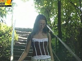 Valeria pees in the bushes