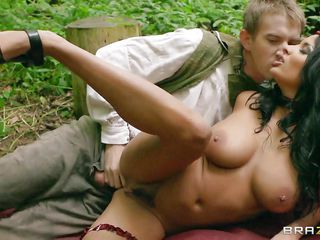 Watch this french pornstar getting a hardcore pounding in the forest with her lover. See her getting fucked and bouncing her boobs up & down while riding like a cowgirl. Lucky guy was very happy about fucking her and kissing her passionately. And his hardcore love makes her horny and her nipples harder!
