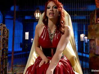 devilish redhead mistress shows her best