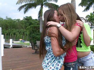three lesbos playing at outdoor