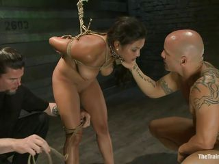 Such a cutie needs a hard fuck and some humiliation and that is exactly what the bald man gives helped by his buddy. He fucks her vagina from behind and then grabs her mouth so she would pay attention on what this guy says. Seeing her dominated really makes you thinking if she will behave from now on.