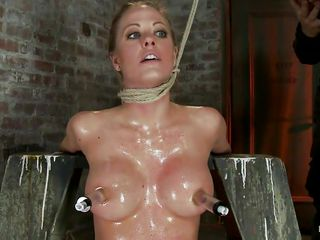 strangulated blonde sweetheart gets a hard cock in her mouth