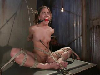 Kristina loves to sit comfortable and this babe was a fucking whore with no respect until this guy putted his paws on her. Now she's all bound up has clamps on her nipples that are pulling these small tits and a ball is used to gag her pretty mouth. Kristina sits there and gets whipped and punished, this babe deserves it.