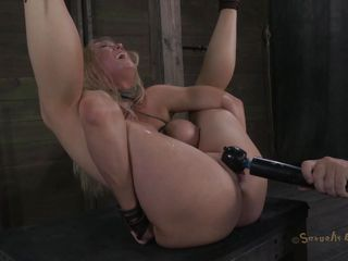 Tied up and with her legs widen this blonde experiences some hard fucking. The executor shows her no mercy and fucks her pussy deep and hard while chocking her. She barely stands what this guy does and maybe a harder punishment will make this blonde even greater quantity obedient