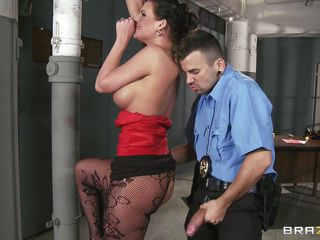 Sexy mature babe Phoenix is caught and placed in a custody of a hungry young cock! But the milf with a sexy nylons do better than that. And when the hungry security jumps to fuck the milf out he found a hungry mature babe waiting to feed her boobs and twat in swap of  a large dick. And soon Phoenix took out the penis and started to deliver the greatest blowjob cum handjob with a tit-fuck in the milf fucking history!