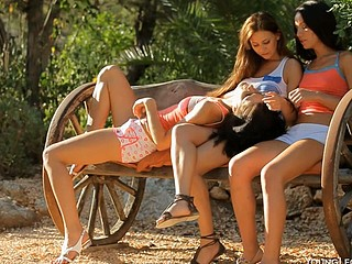 Three hawt and winning women are having foursome fuck outdoors