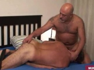 Hairy daddy banged