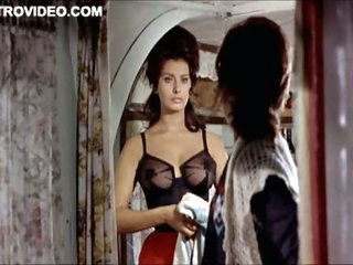 World's Hottest Vintage Celebrity Sophia Loren Wearing Constricted Lingerie