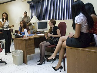 Office sweethearts getting bawdy with male striper