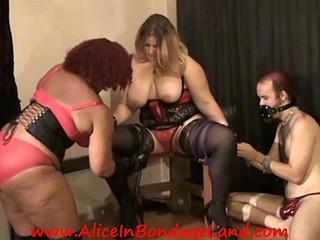Ebony BBW Mistress Tortures Big White Breasts Ambisexual Trio Thraldom
