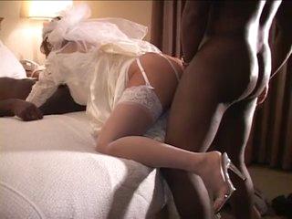 White Bride Fucked by 2 BBC on Wedding Night - Cuckold
