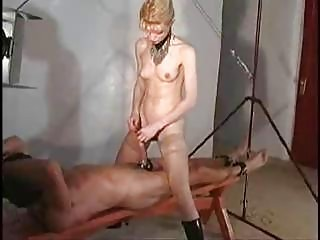 Penis insertion with cumshot through tugjob