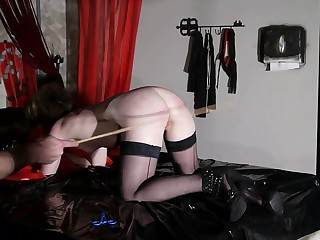 french submissive libertine in sadomasochism caning session sadomasochism