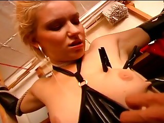 Sexy slave girl riding the masters dong