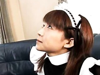 Pretty Japanese maid cleans up her slavemaster's tool
