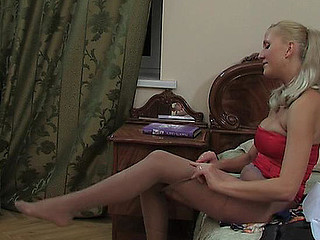 Hilda A videotaped whilst wearing hose