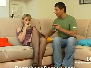 Drinking some wine provokes to pantyhose fucking of nylon-addicted pair