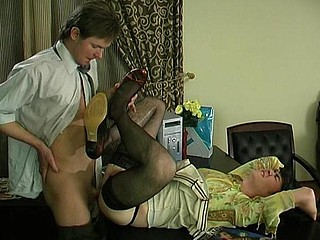 Nasty gay sissy in lacy darksome nylons getting massive hard-on up his booty