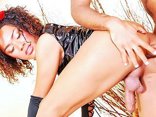 Lady-Boy Lulia receives fucked doggy style.