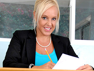 Charming secretary with massive love bubbles masturbates in the office