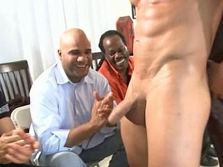 Hard cock in guy's throat