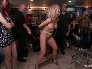 mature pornstar humiliated in a bar