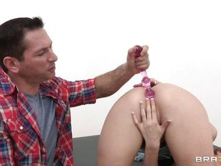 This blonde slut is having fun with a pink sex toy inside her asshole. Look at her hot a-hole and her tight love tunnel while these guys make a commercial movie. Look at all those masochistic toys used on her a-hole and how this babe moans when this babe gets a finger in her but and 2 in her tight pussy.