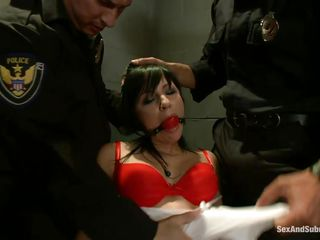 brunette chick dominated and fucked by two cops