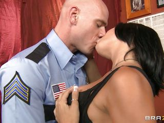 bald policeman fucking a hot brunette hair milf in the throat