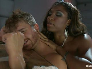 hot ebony shemale playing with her slave
