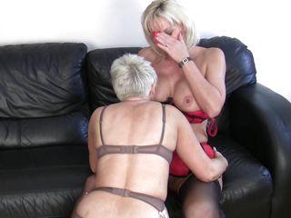 aged blonde lesbians having fun and hard sex
