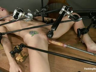 blonde whore likes being screwed by a machine