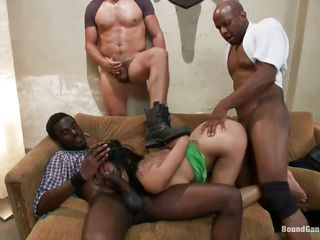 Oriental milf Krissie Dee has the time of her life in a room filled with guys. They fuck all her holes. That babe sucks like a pro on their big meaty cocks. Watch her hairless pussy and worthwhile skinny ass getting stuffed with every of these guy's rods. After they had their fun, the dudes get willing to cum on her worthwhile face.