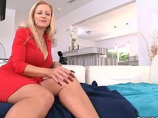 Nasty and appealing blonde Holly is riding on his schlong