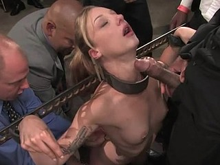 Tied up weird whore is getting her mouth filled with penis