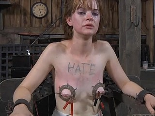Poor whorish whore getting her corpus tied up on the chair