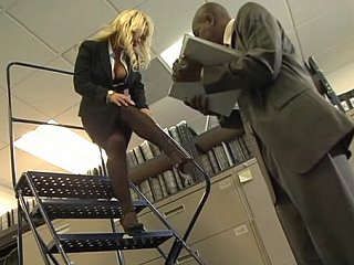 Busty blonde office angel gets fucked by black jock