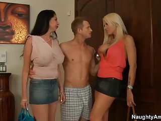 2 milfs. Michelle McLaren and Nadia Night. both with large boobs and lengthy legs meet Nadia's son's friend at home.  That guy is curious about sex with two busty moms. Horny large boobed milfs strip. suck and receive fucked!
