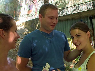 CZECH COUPLES Youthful Pair Takes Money for Public Foursome
