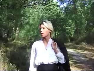 Blonde wife drilled in forest