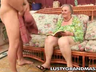 Nasty granny Margots hairy pussy for young knob