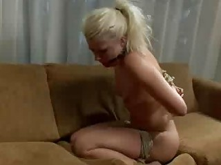 Gagged blond hard whipped and bdsm drilled in bed