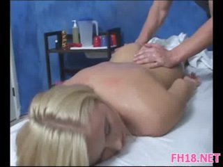 Gorgeous 18 year old floozy gets a massage and a hard fucking