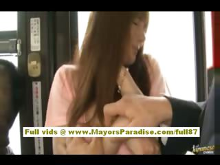 Rio asian teen chick getting her hairy vagina caressed on the bus