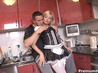 Hawt maid Donna Bell getting backdoor gangbanged hard