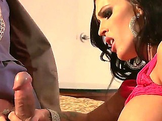 Brunette milf Jenna Presley teases and seduces horny male into hard fucking her tight gazoo