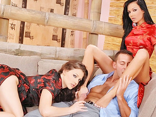 Regina Moon and Florencia  have a hting for fucking one stud at the same time! This fortunate guy gets all the most excellent treatment and thanks 'em with a cum shot!!
