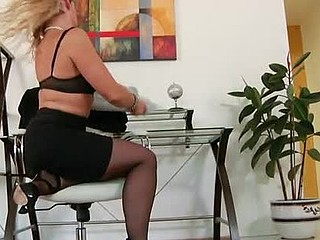 Wavy blond haired mother i'd like to fuck pounds her shaggy snatch with a vibrator