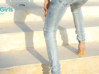 Babe in skin taut jeans bent and fucked